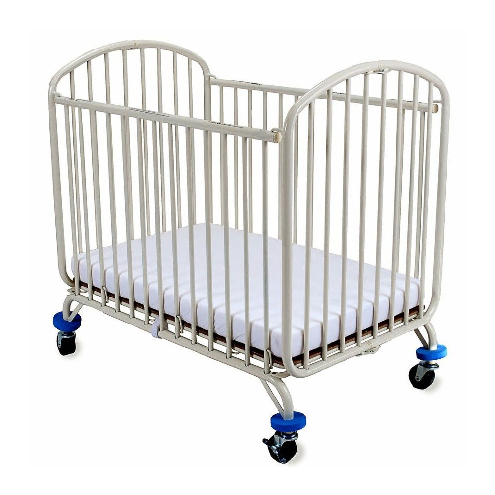 "L.A. Baby CS-72 24"" x 38"" White Folding Metal Arch Crib with 3"" Fire Retardant Mattress"