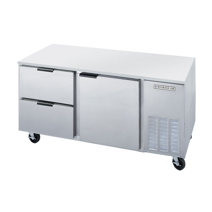 "Beverage-Air UCRD67A-2 67"" Compact Undercounter Refrigerator with 1 Door  and 2 Drawers"