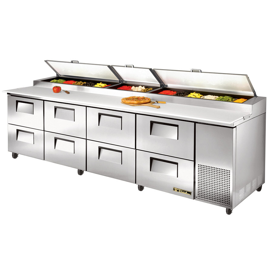 True TPP-119D-8 119 inch Eight Drawer Refrigerated Pizza Prep Table