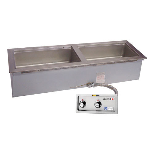 Wells MOD200TDMNAF 2 Pan Slim Line Drop-In Hot Food Well with Drain Manifolds and Autofill - Thermostatic Control
