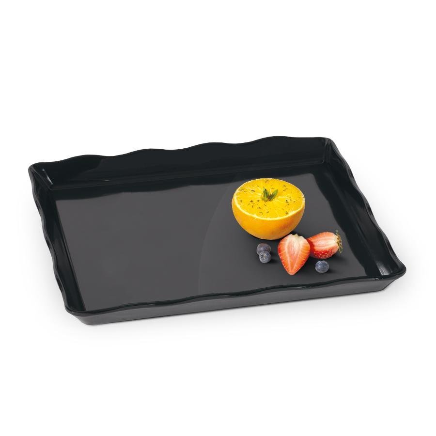 "GET ML-155-BK Bake and Brew 14"" x 11 1/2"" Black Melamine Rectangular Display Tray - 6 / Pack"