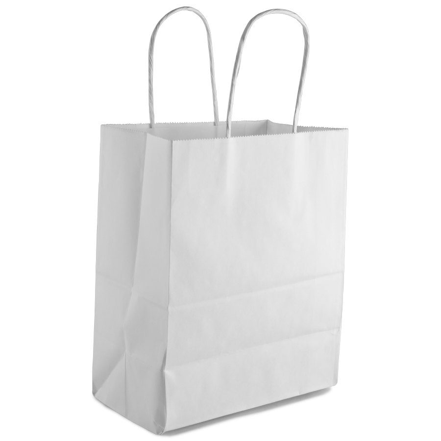"""Tempo White Shopping Bag with Handles 8"""" x 4 1/2"""" x 10 1/4 ..."""