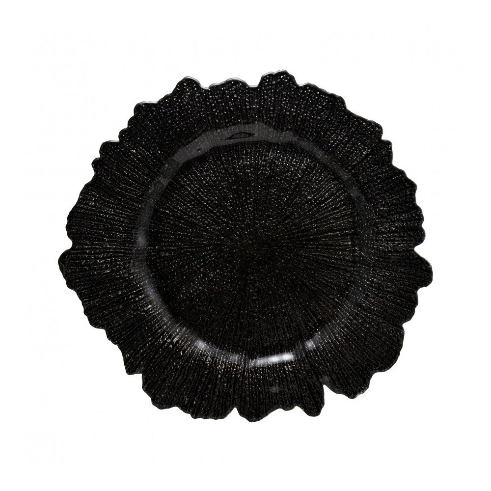 "10 Strawberry Street SPB340 13 3/4"" Sponge Black Glass Charger Plate"