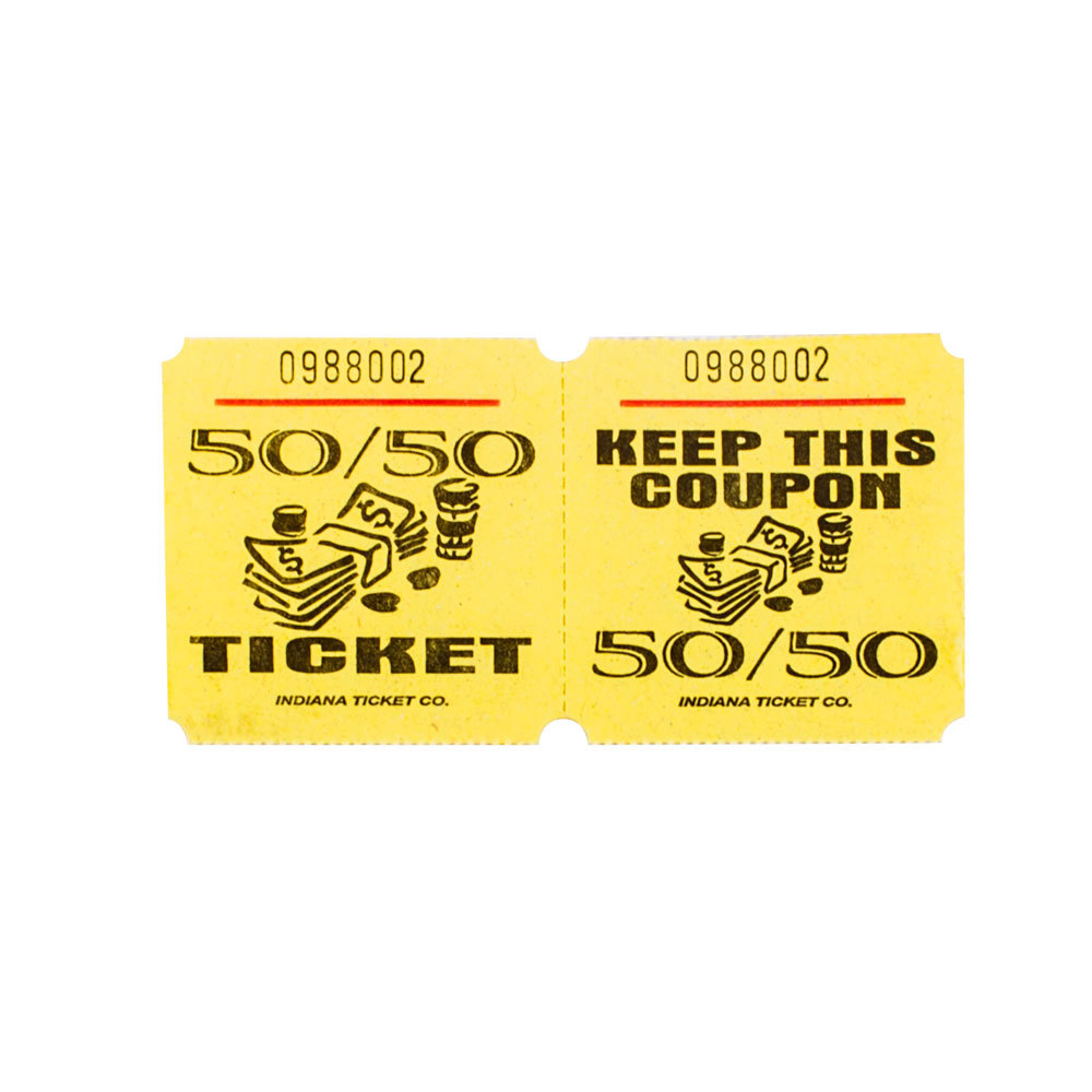 Yellow 50 50 marquee raffle tickets 1000 roll for 50 50 raffle tickets template
