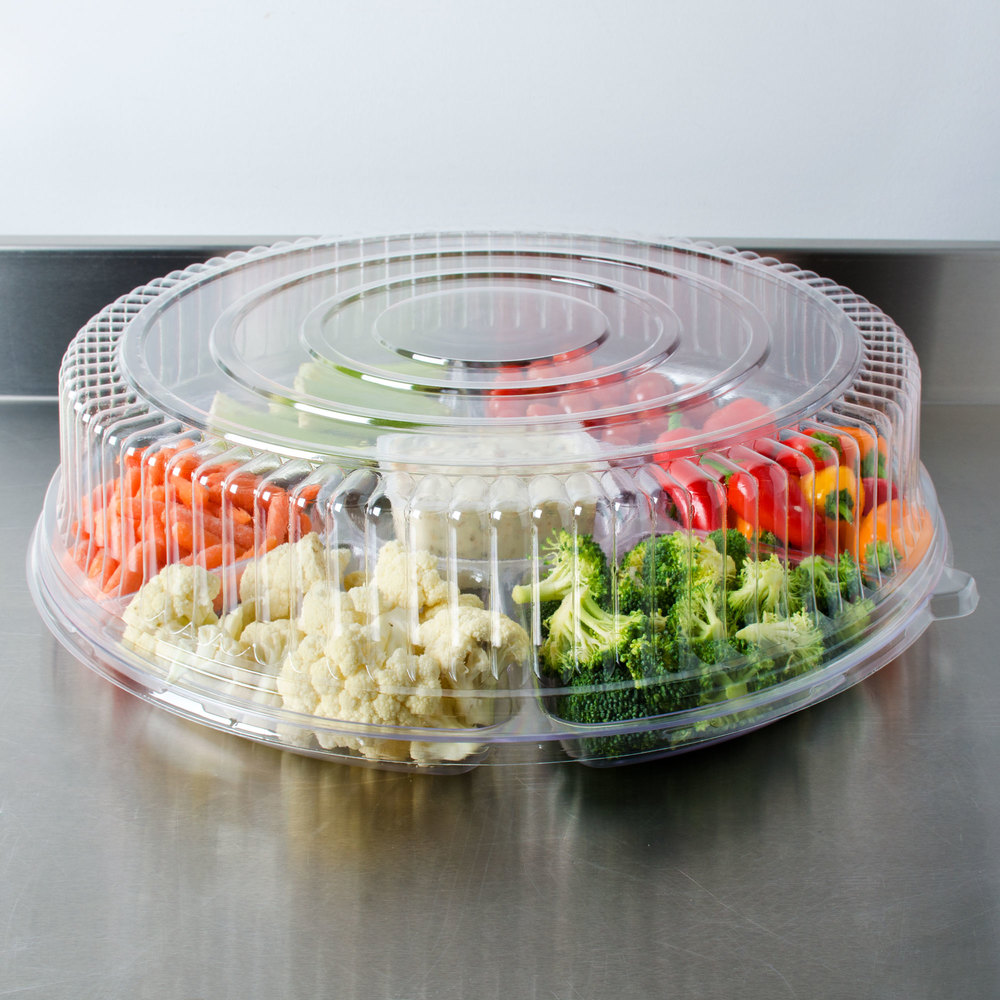 "Fineline Platter Pleasers 9801-L 18"" Clear PET Plastic Round High Dome Lid - 25/Case"