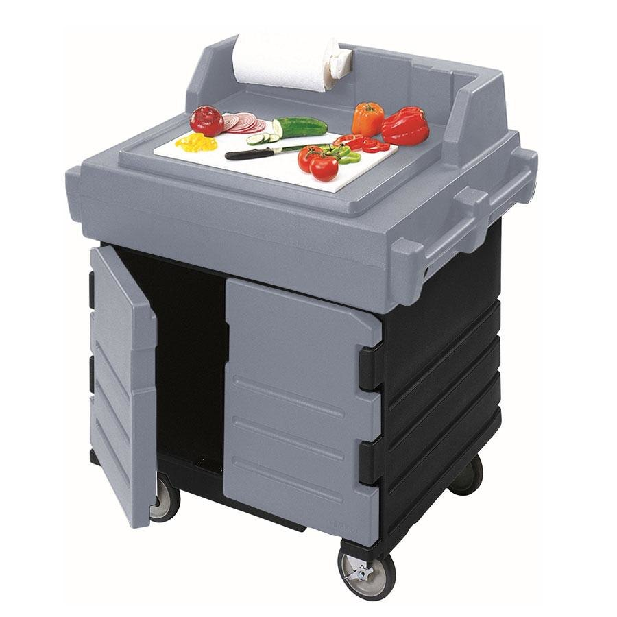 Cambro KWS40426 Black Base with Granite Gray Door CamKiosk Food Preparation / Counter Work Station Cart