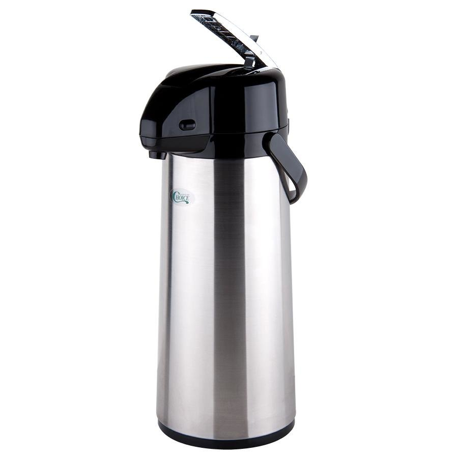 Choice 2.5 Liter Glass Lined Stainless Steel Airpot with Lever