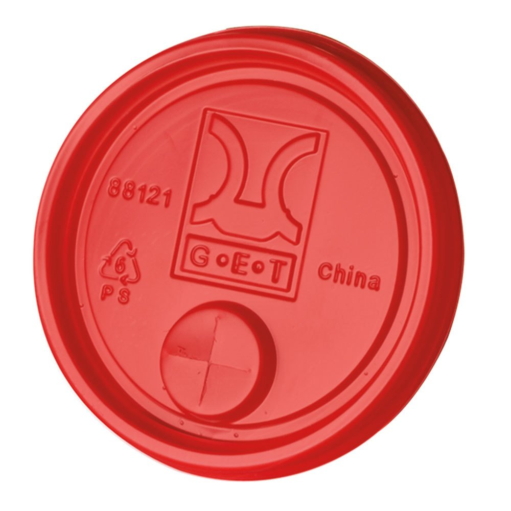 "GET LID-88121-R Disposable Red Plastic Lid with Straw Slot for 3"" Diameter Tumblers 2000 / Case"