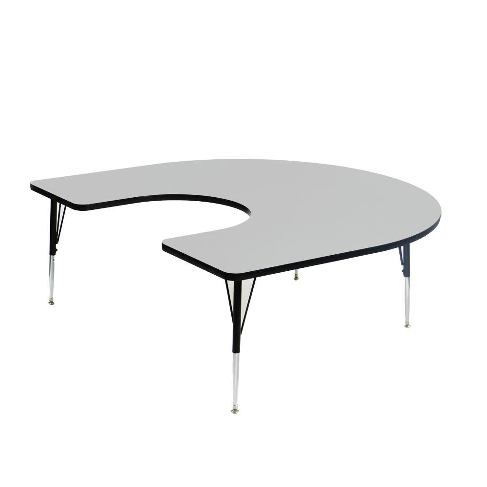 "Correll EconoLine AM6066-HOR 60"" x 66"" Gray Adjustable Height Horseshoe Activity Table"