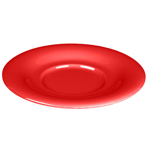 "5 1/2"" Pure Red Melamine Saucer for 8 oz. Bouillon Cup and 4 oz. Salad Bowl - 12/Pack"