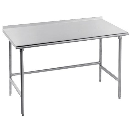 "Advance Tabco TFSS-367 36"" x 84"" 14 Gauge Open Base Stainless Steel Commercial Work Table with 1 1/2"" Backsplash"