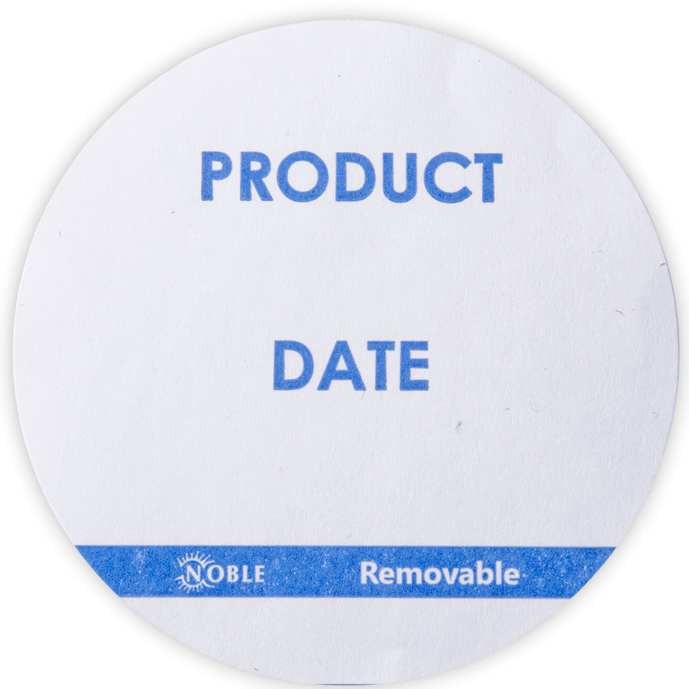 Noble 3 inch Product Date Round Removable Label - 500 / Roll with Dispenser Carton