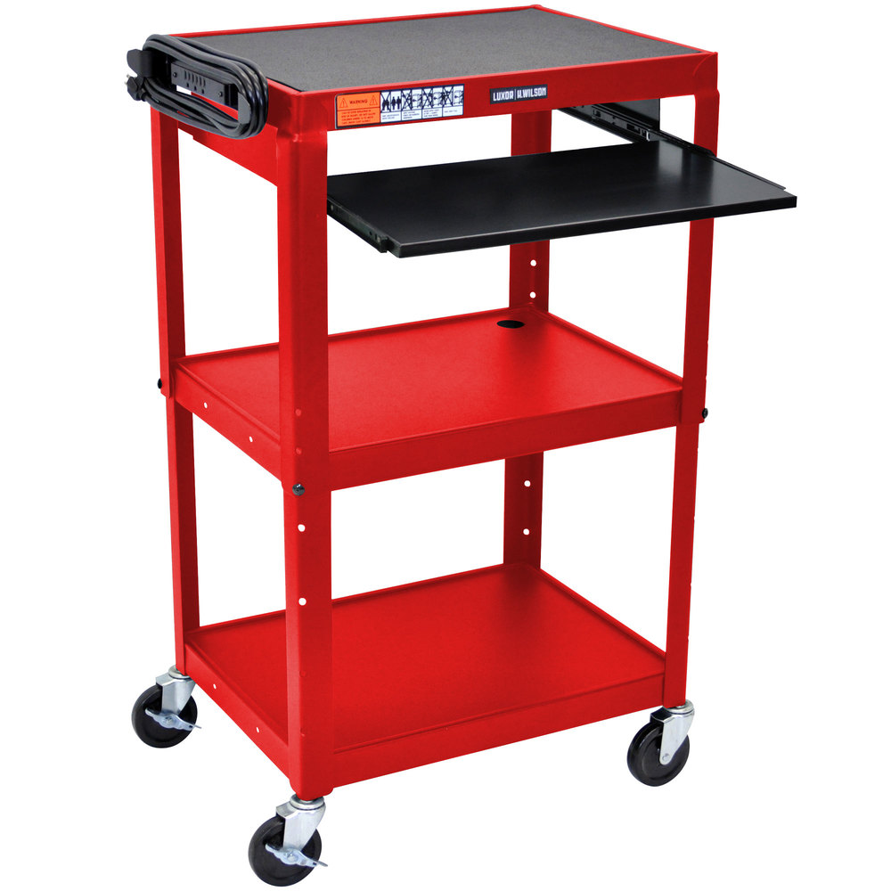 "Luxor / H. Wilson AVJ42KB-RD Red Mobile Computer Cart / Workstation 24"" x 18"" with Keyboard Shelf"