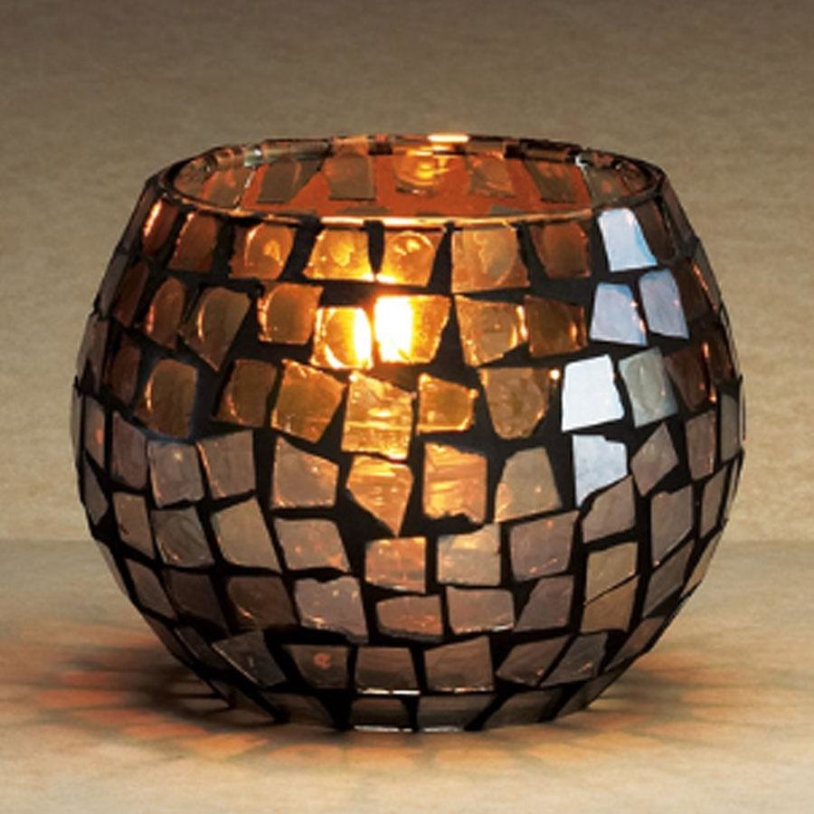 Sterno Products 80198 Mirror Mosaic Sphere Liquid Candle Holder with Mirrored Glass Design