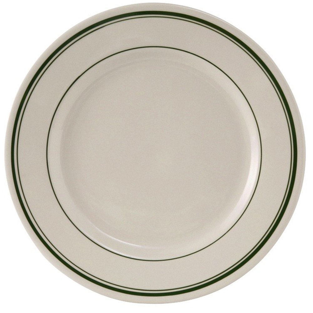 "Tuxton TGB-021 12"" Wide Rim Rolled Edge Green Bay China Plate 12/Case"