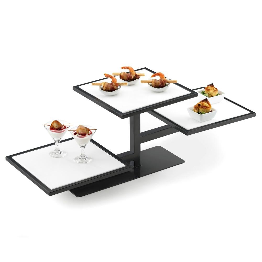Cal Mil 1140-13 Black One By One Square 3-Tiered Riser Frame – 32 1/4 inch x 13 inch x 10 1/2 inch