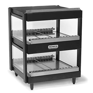 Nemco 6480-18B Black 18 inch Horizontal Double Shelf Merchandiser - 120V