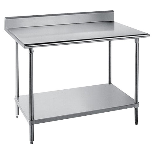 "Advance Tabco KMS-244 24"" x 48"" 16 Gauge Stainless Steel Commercial Work Table with 5"" Backsplash and Undershelf"