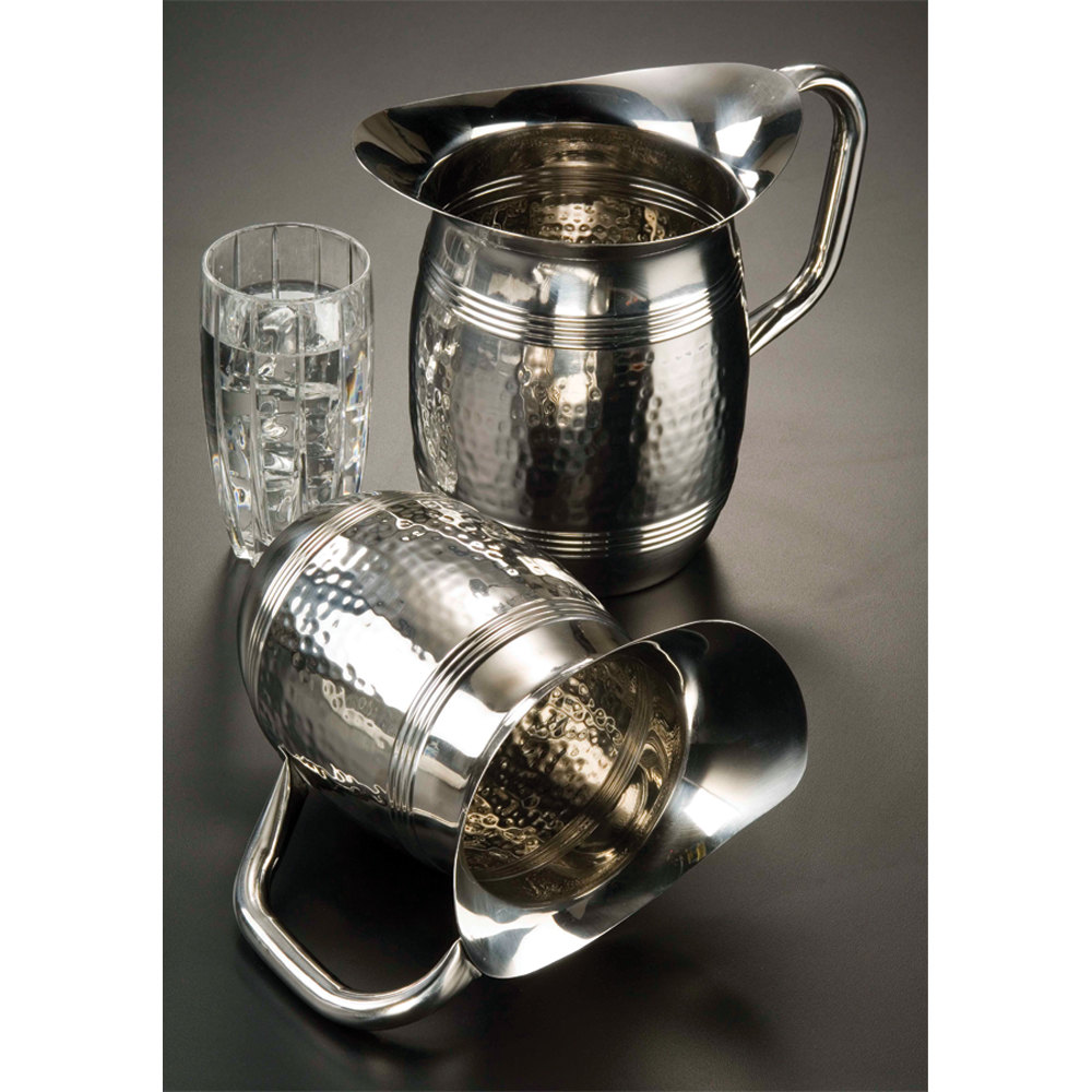American Metalcraft HMWP85 2 Liter Bell Water Pitcher Hammered Stainless Steel