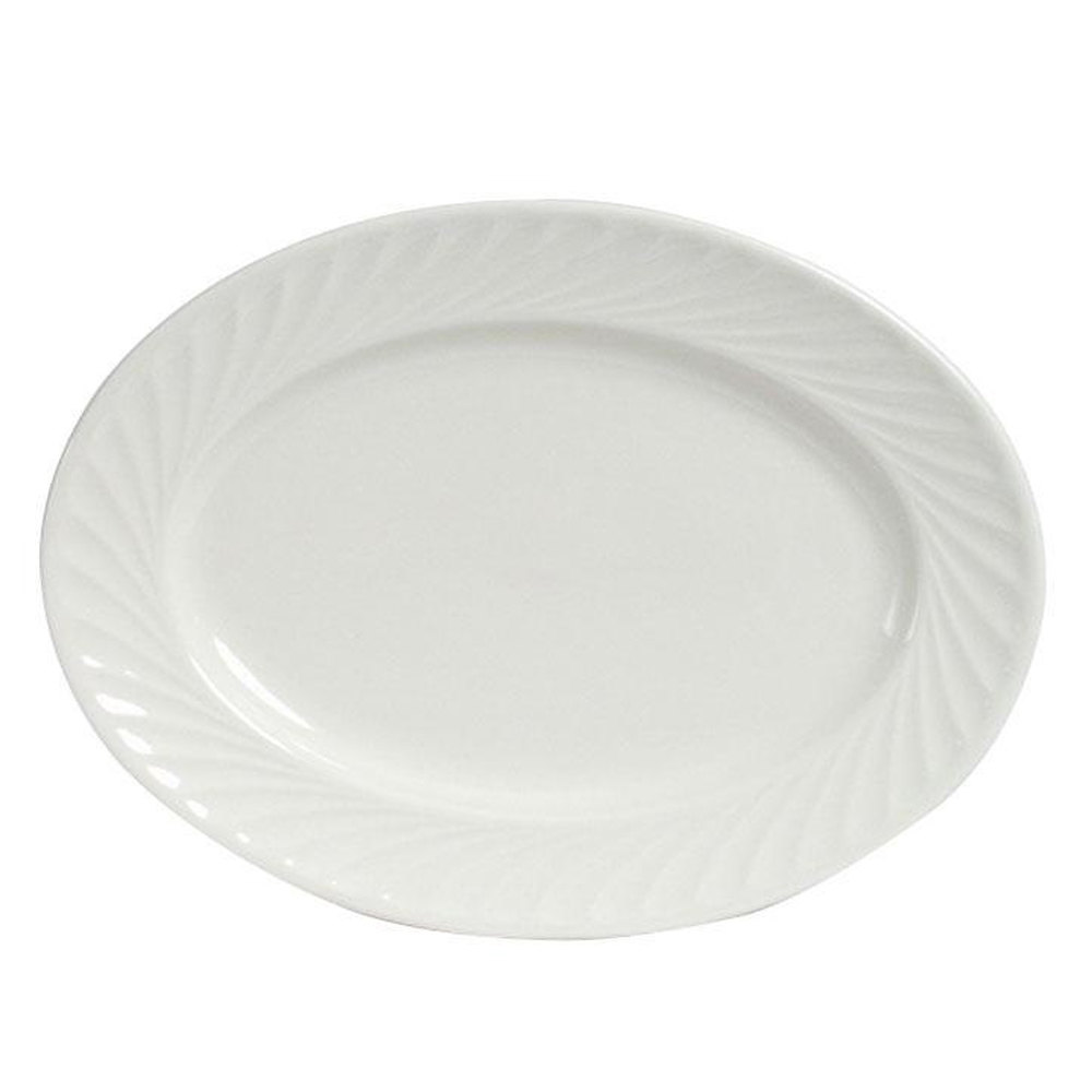 "Tuxton MEH-115 Meridian 11 5/8"" x 8 1/4"" Ivory (American White) Swirl Rim Oval China Platter - 12/Case"