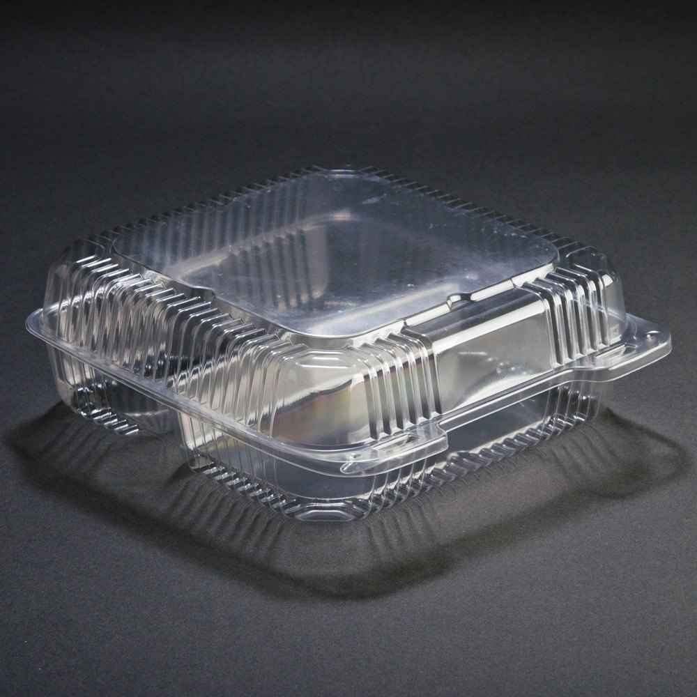 "9"" x 9"" x 3"" Three Compartment Clear Hinged Lid Plastic Container 100 / Pack at Sears.com"