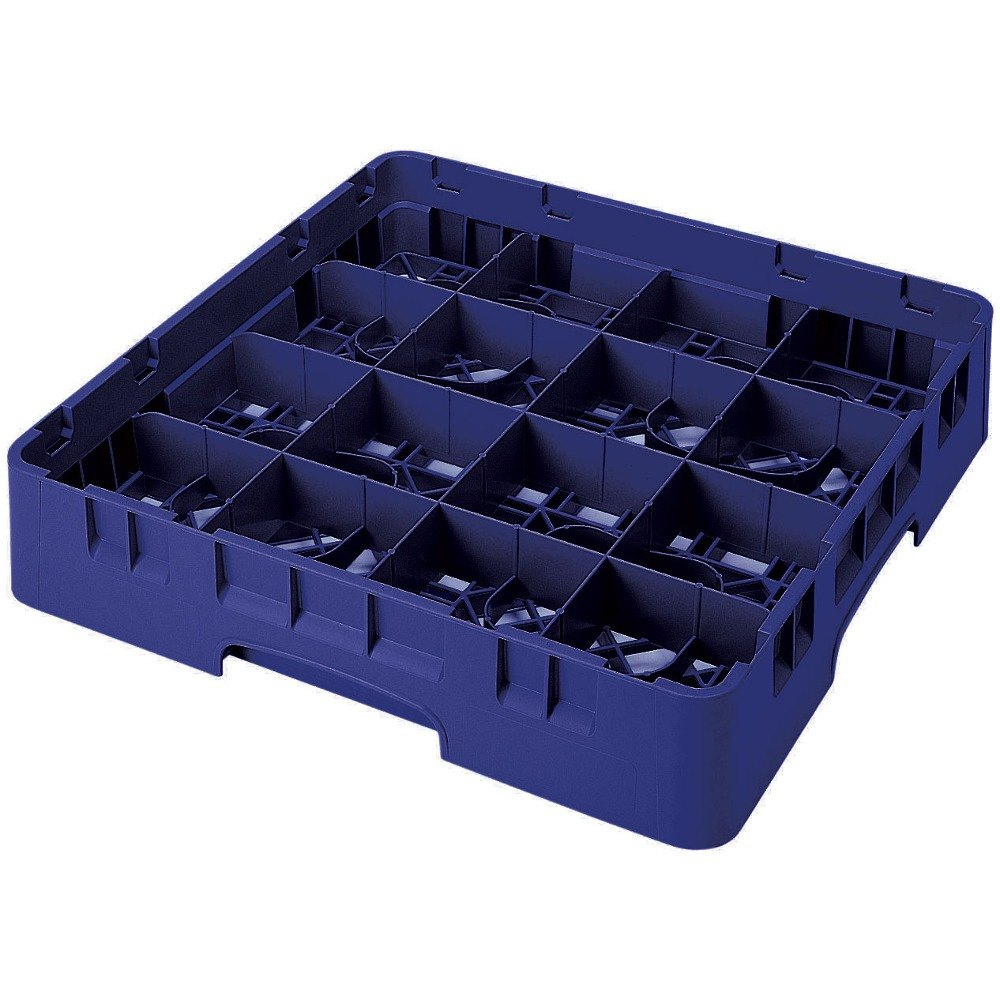 "Cambro 16S738186 Camrack 7 3/4"" High Navy Blue 16 Compartment Glass Rack"