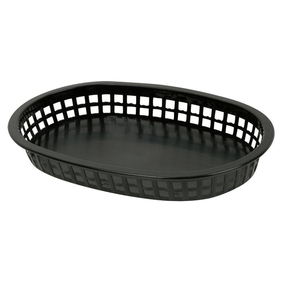 10 3/4 inch x 7 inch x 1 1/2 inch Black Oval Plastic Fast Food Basket 12 / Pack