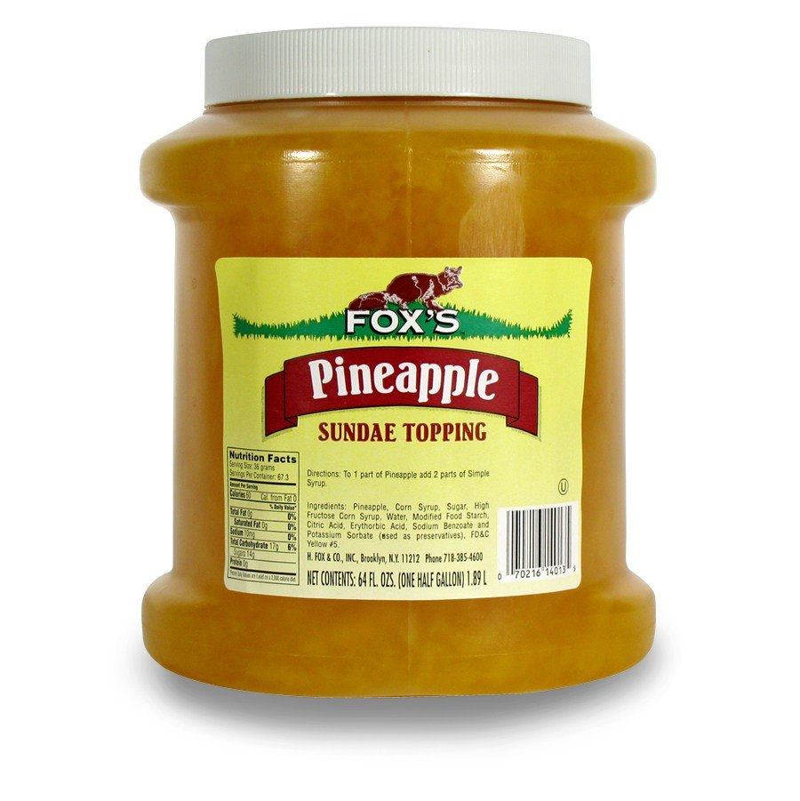 Fox's Pineapple Ice Cream Topping - 1/2 Gallon Container