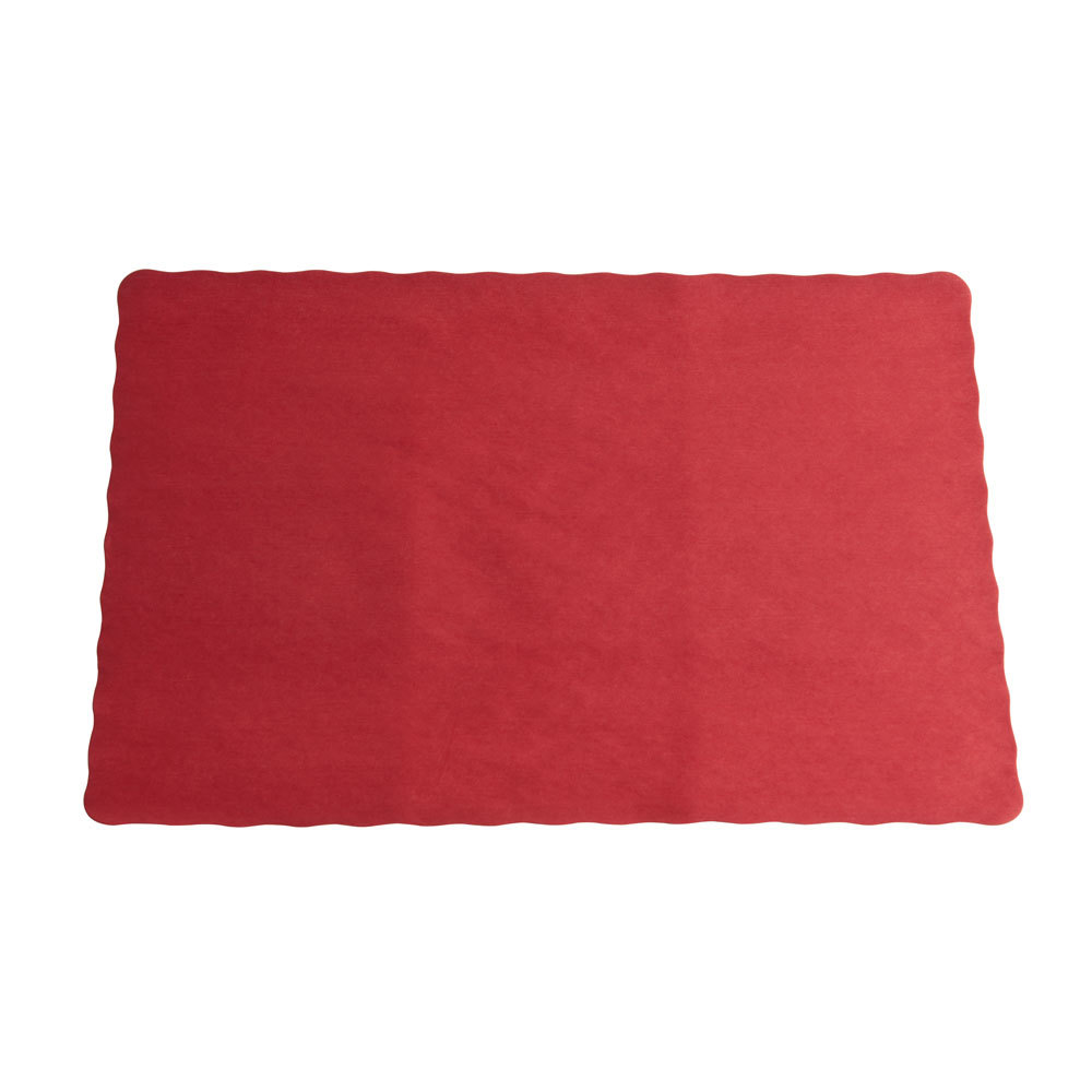Red Colored Paper Placemat, Scalloped Edge, 10 inch x 14 inch 1000 / Case