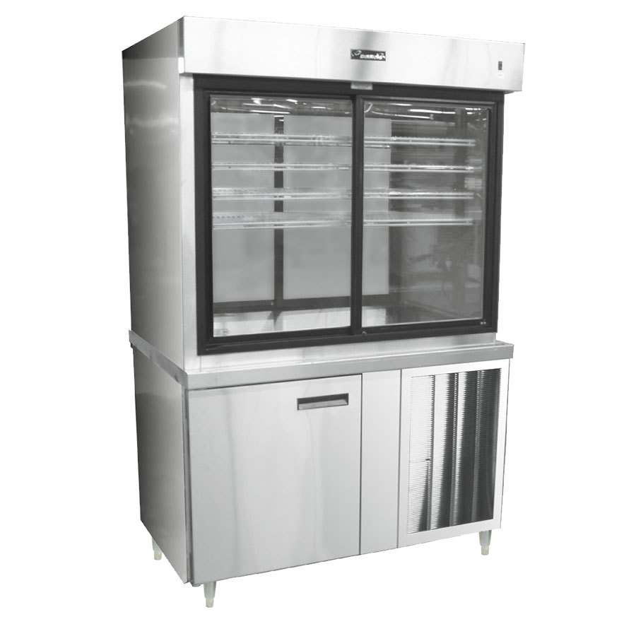 "Delfield F15MC48N 48"" Narrow Depth Refrigerated Display Case with Storage Base and Mirrored Back - 23 Cu. Ft."