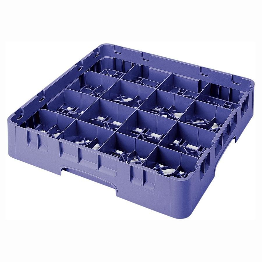 "Cambro 16S434186 Camrack 5 1/4"" High Navy Blue 16 Compartment Glass Rack"