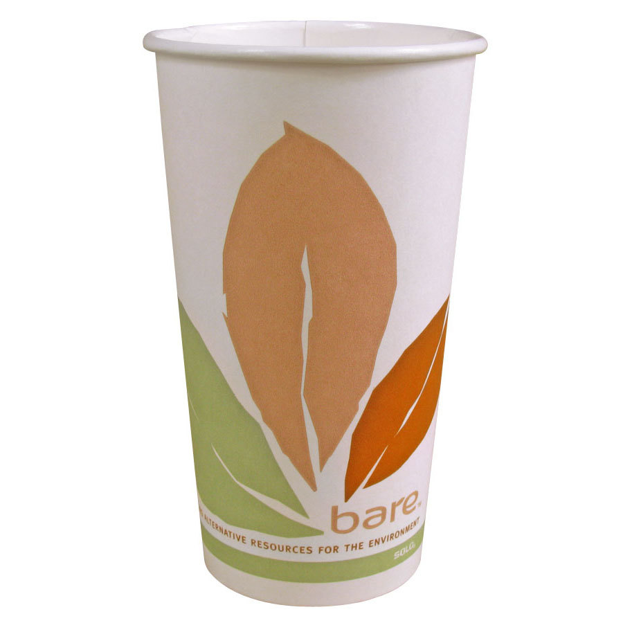 Solo 316PLA-BB 16 oz. Bare Bloom Paper Hot Cup - 1000/Case