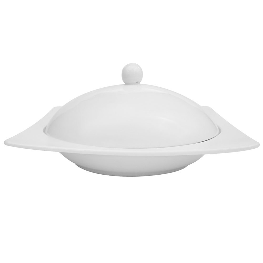 CAC KSE-208 Square White China Pasta Bowl with Lid 10 oz. - 8/Case