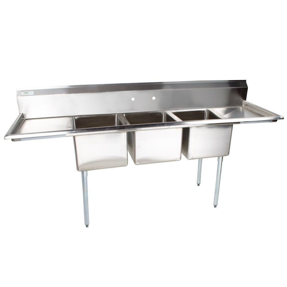 Regency 16 Gauge Three Compartment Stainless Steel Commercial Sink with 2 Drainboards - 94 inch Long, 18 inch x 24 inch x 14 inch Compartments