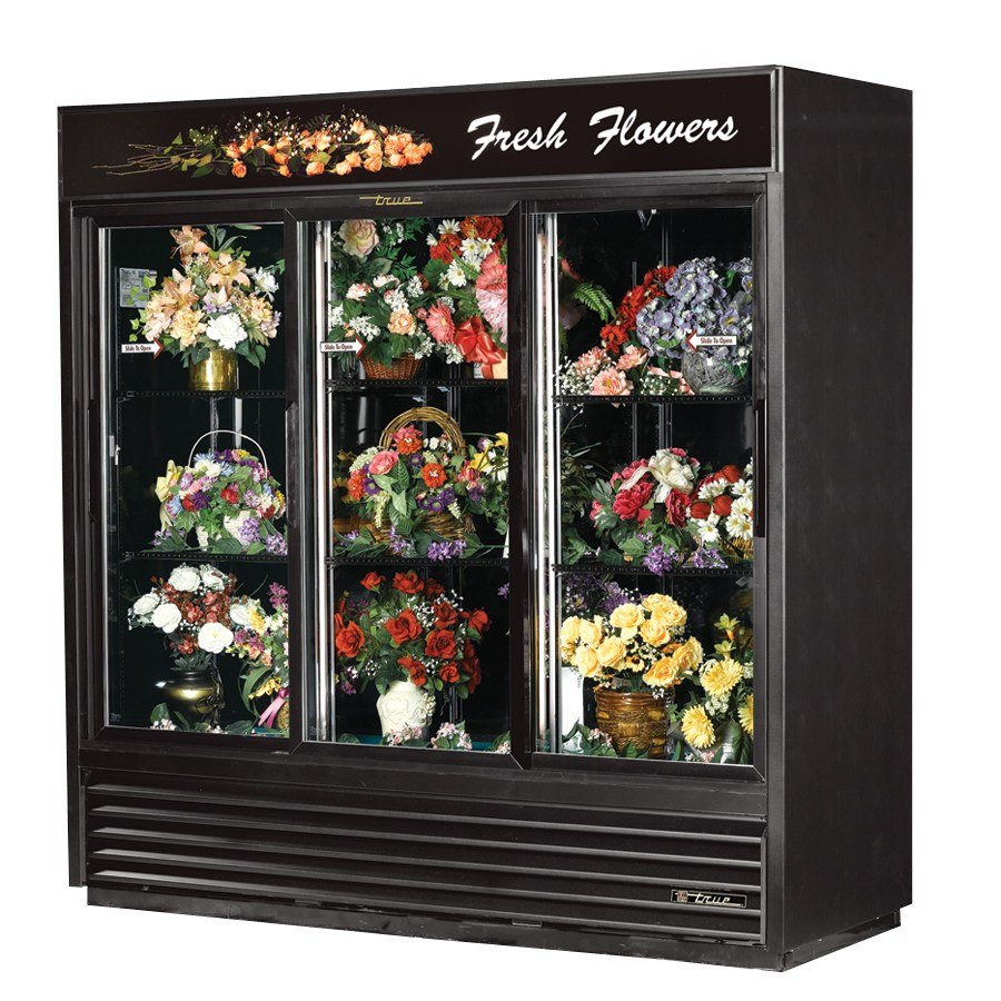 True GDM-69FC Black Three Glass Sliding Door Floral Case - 69 Cu. Ft.