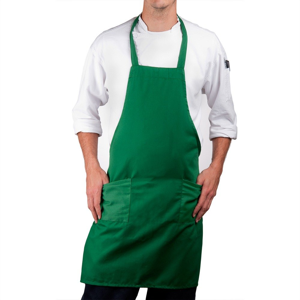 Hunter Green Choice Full Length Bib Apron with Pockets - 34 inchL x 30 inchW