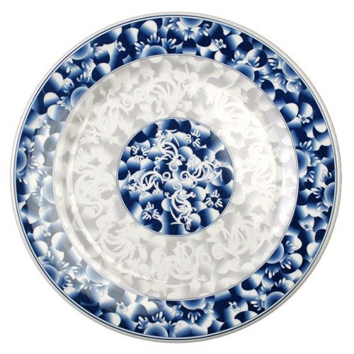 "Blue Dragon 14 1/8"" Round Melamine Plate - 12/Pack"
