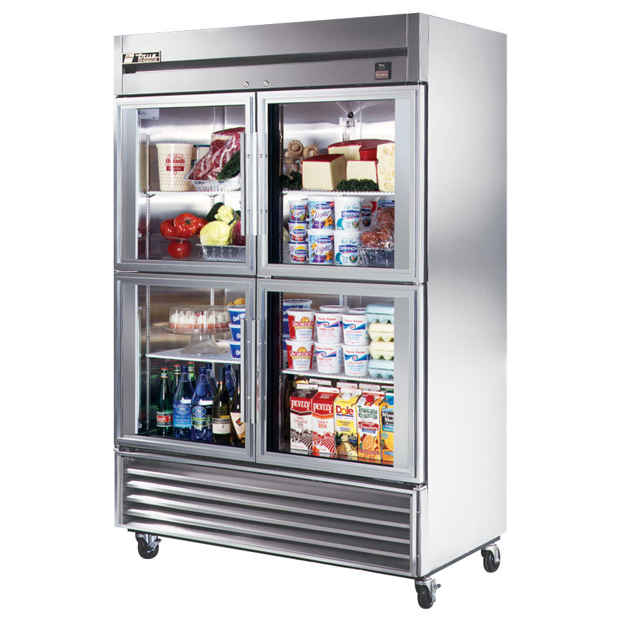 Glass Refrigerator True Ts 49g 4 54 Stainless Steel Two Section Half Glass Door