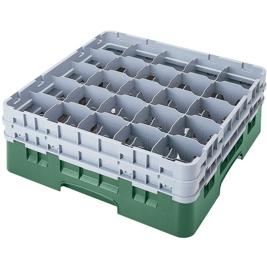 "Cambro 25S738119 Camrack 7 3/4"" High Green 25 Compartment Glass Rack"