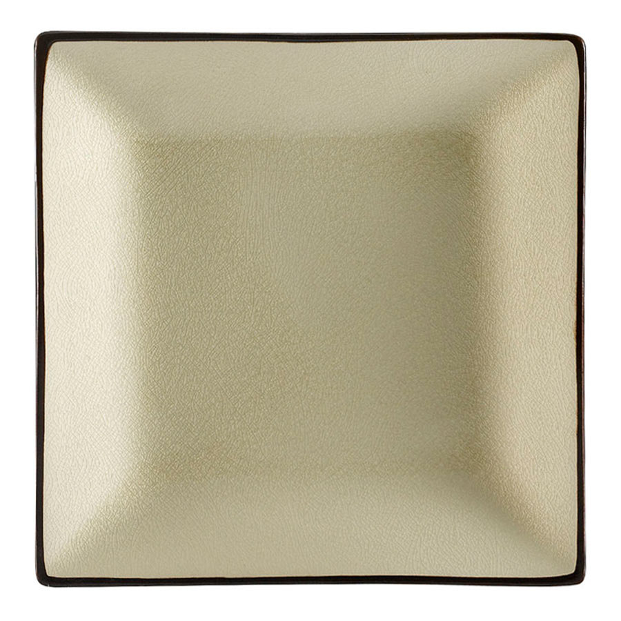 "CAC 666-5-W Japanese Style 5"" Square China Plate - Black Non-Glare Glaze / Creamy White - 36/Case"
