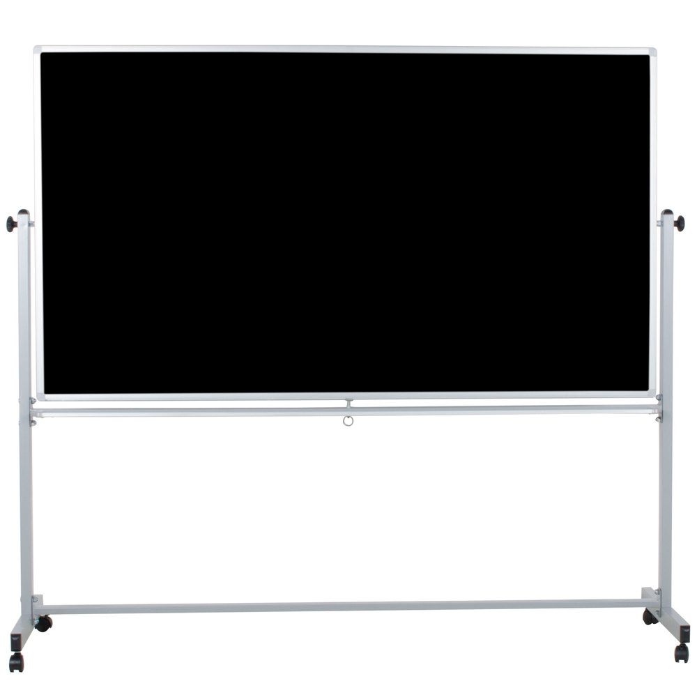 "Luxor / H. Wilson MB7240 72"" x 40"" Double-Sided Whiteboard / Chalkboard with Aluminum Frame and Stand"