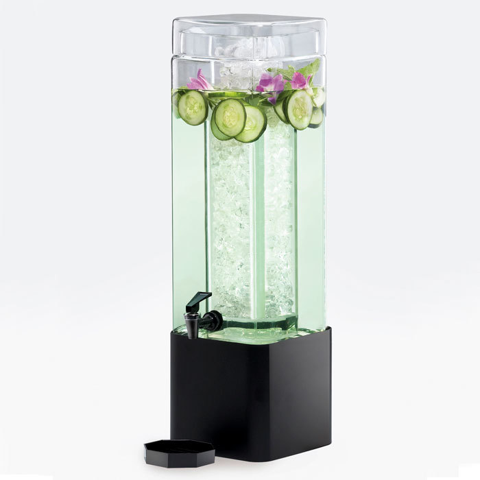 Cal Mil 1112-1A-13 1.5 Gallon Mission Square Acrylic Beverage Dispenser with Black Metal Base - 7 inch x 7 inch x 19 inch