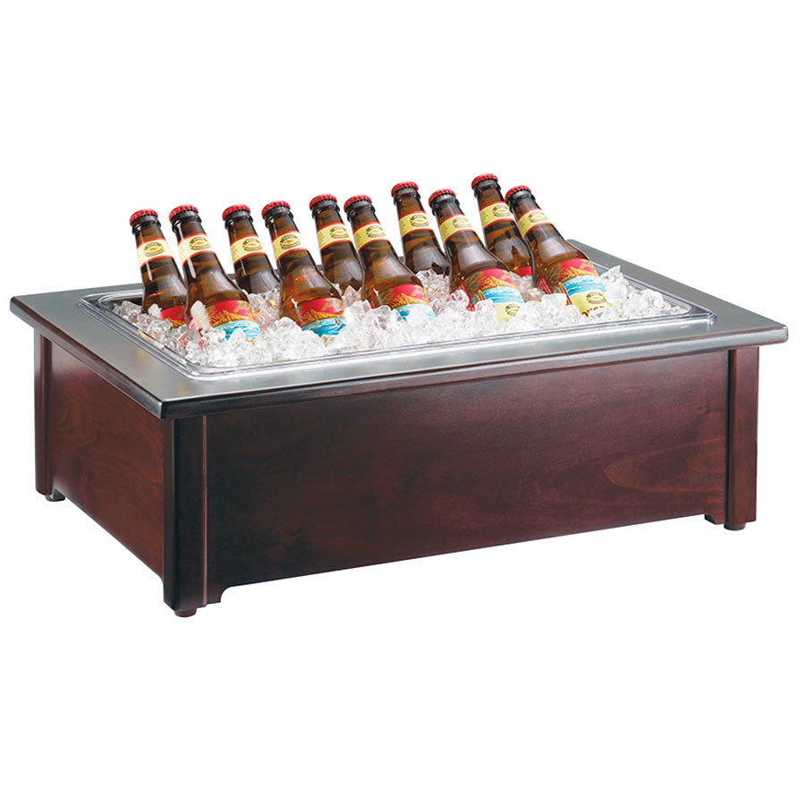 Cal Mil 412-18-52 18 inch x 26 inch Woodland Beverage Housing with Clear Ice Pan - Dark Wood