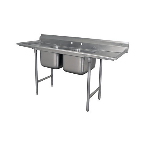 Advance Tabco 93-2-36-36RL Regaline Two Compartment Stainless Steel Sink with Two Drainboards - 109""