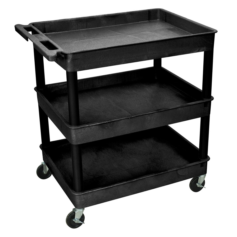 "Luxor TC111 Black 3 Tub Utility Cart - 24"" x 32"" x 38 1/2"""