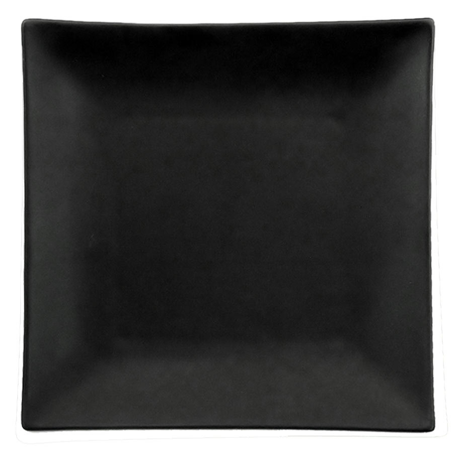 "CAC 666-8-BK Japanese Style 9"" Square China Plate - Non-Glare Glaze Black - 24/Case"