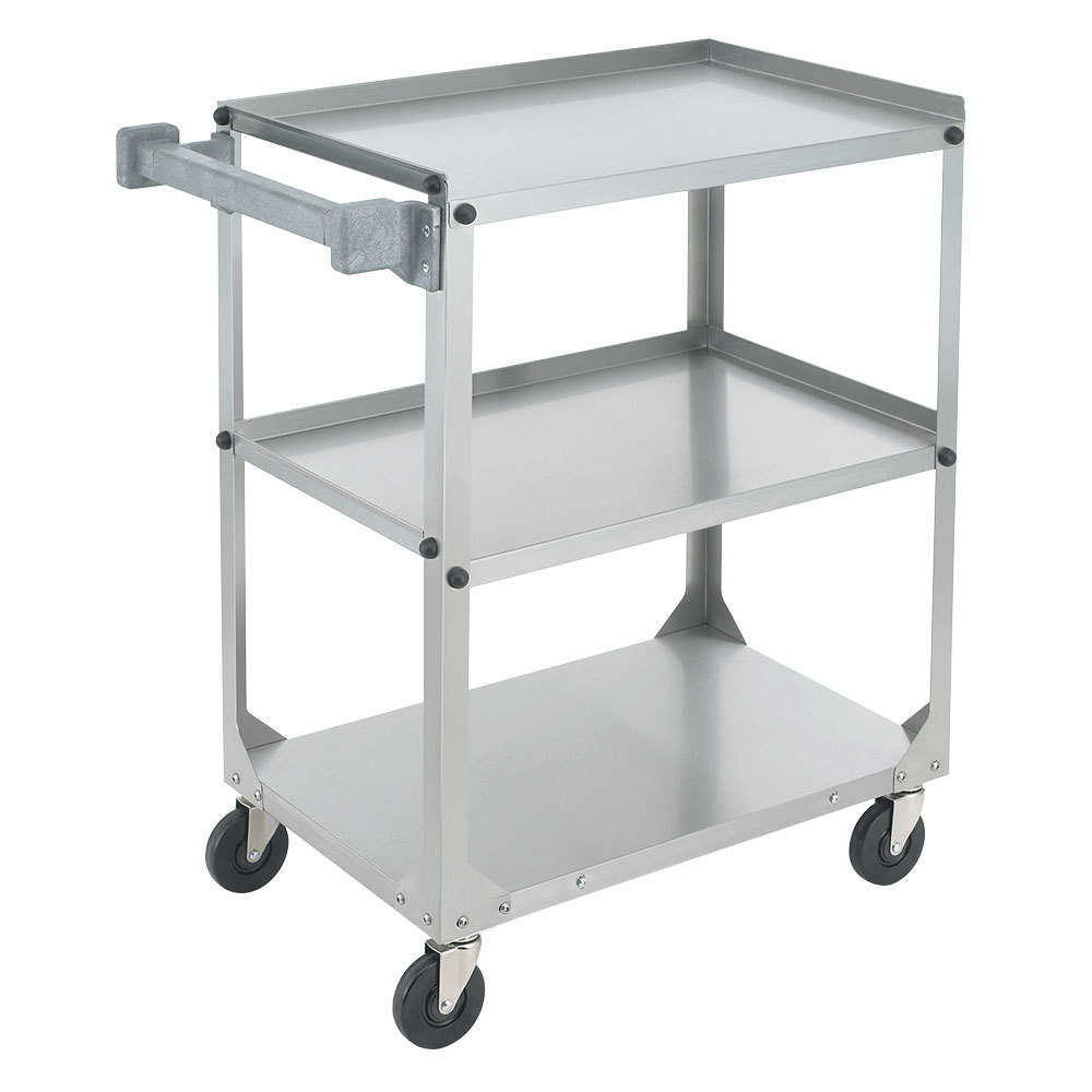 "Vollrath 97320 Knocked Down Stainless Steel 3 Shelf Utility Cart - 27 1/2"" x 15 1/2"" x 32 5/8"""