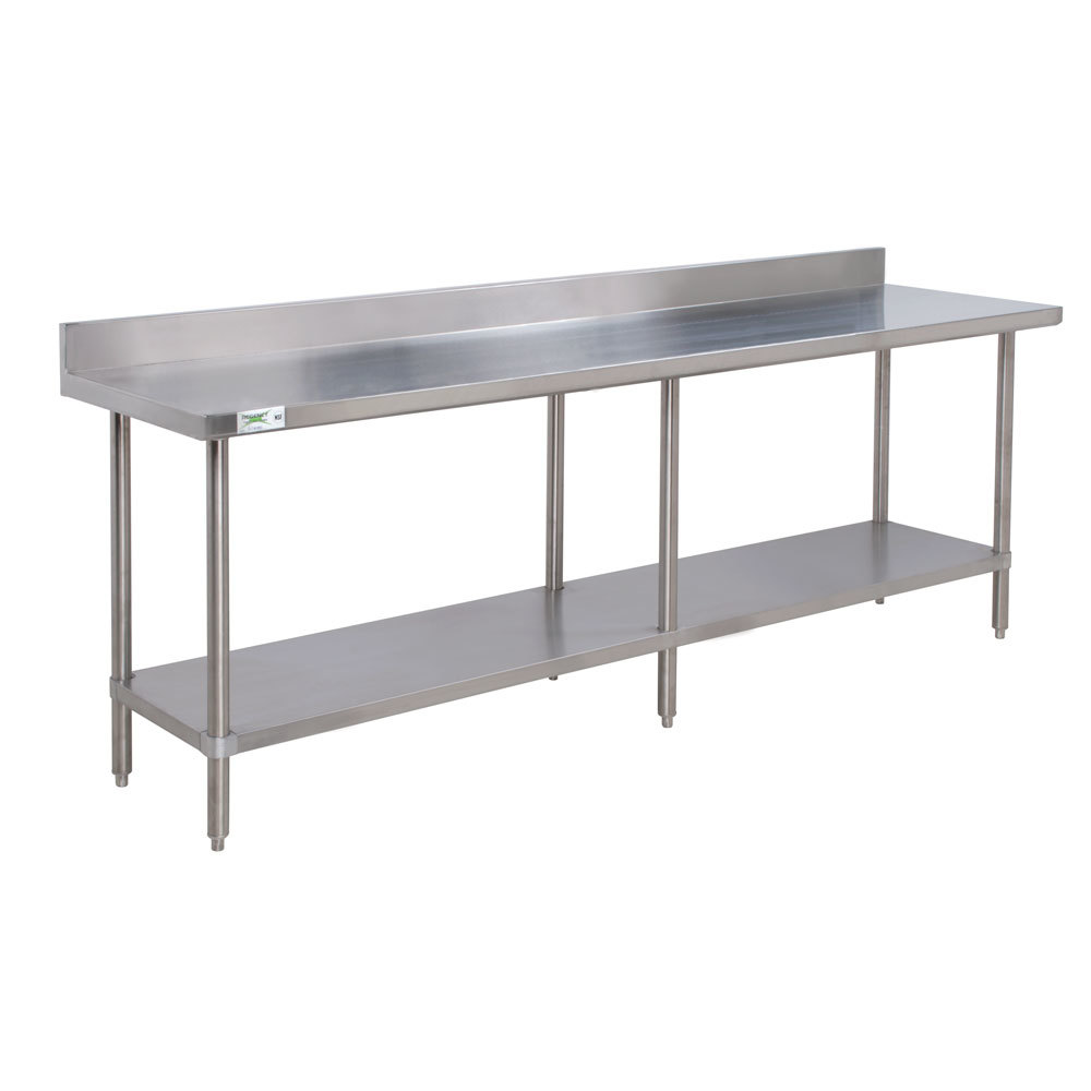 Regency 16 Gauge All Stainless Steel Commercial Work Table - 30 inch x 96 inch with Undershelf and 4 inch Backsplash
