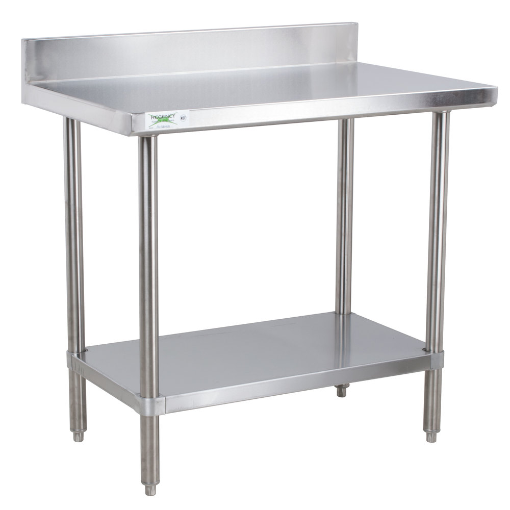 Regency 16 gauge all stainless steel commercial work table for Table armoire inox