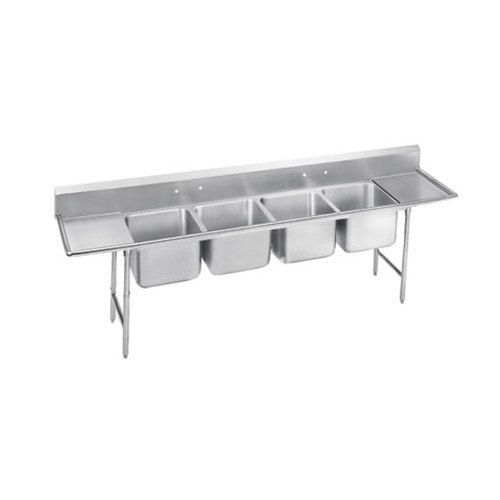 Advance Tabco 9-4-72-18RL Super Saver Four Compartment Pot Sink with Two Drainboards - 110""
